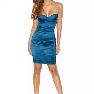 House of CB Khalila Teal Satin Button-back Dress